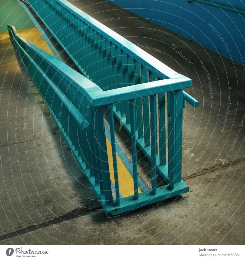 sloping level Far-off places Cold Lanes & trails Line Metal Modern Perspective Walking Concrete Ground Protection Tilt Safety Handrail Target Firm