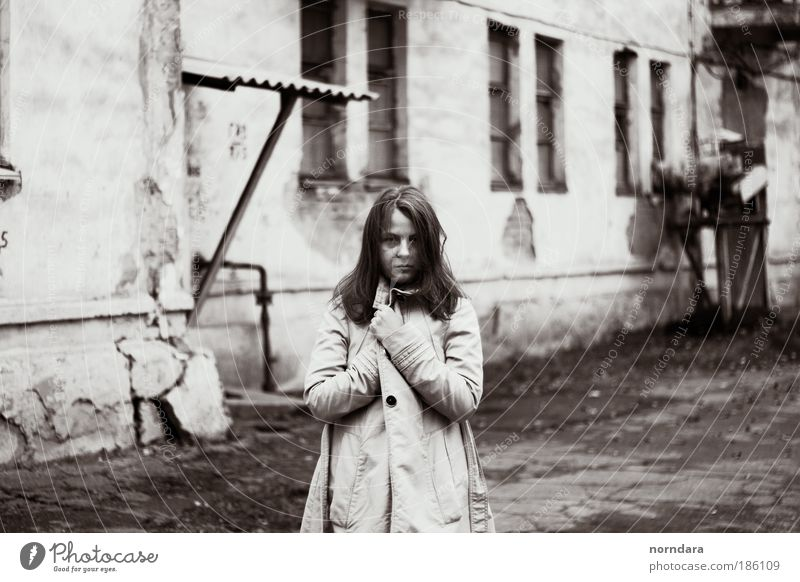 lena Human being Young woman Youth (Young adults) Eyes 1 18 - 30 years Adults Serene Cold Coat Autumn texture Window Black & white photo Exterior shot Day