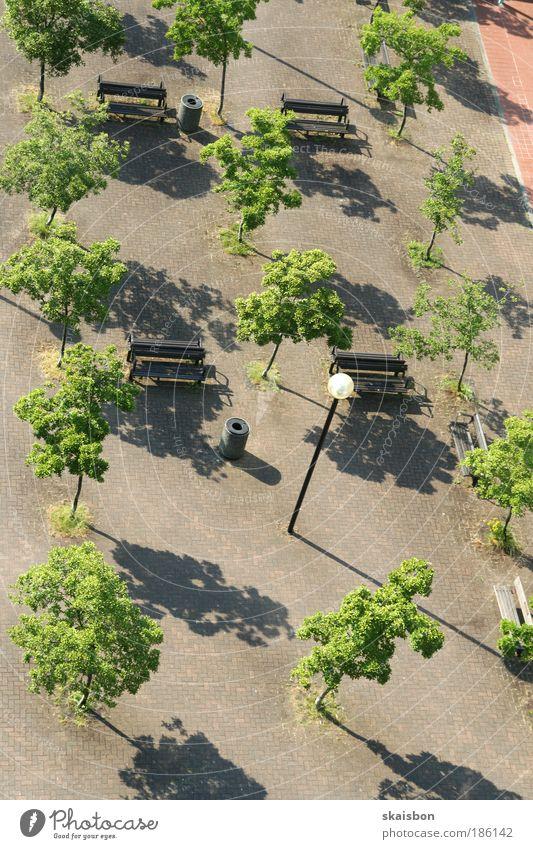 tidied Tree Town Deserted Park Places Lamp Bench Calm Break Arrangement Urban development Artificial Colour photo Exterior shot Aerial photograph