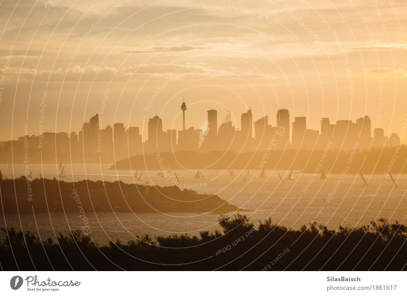 Skyline suring Sunset Lifestyle Shopping Nature Landscape Earth Sunrise Summer Town Port City Downtown Populated High-rise Bank building Yacht Sailboat