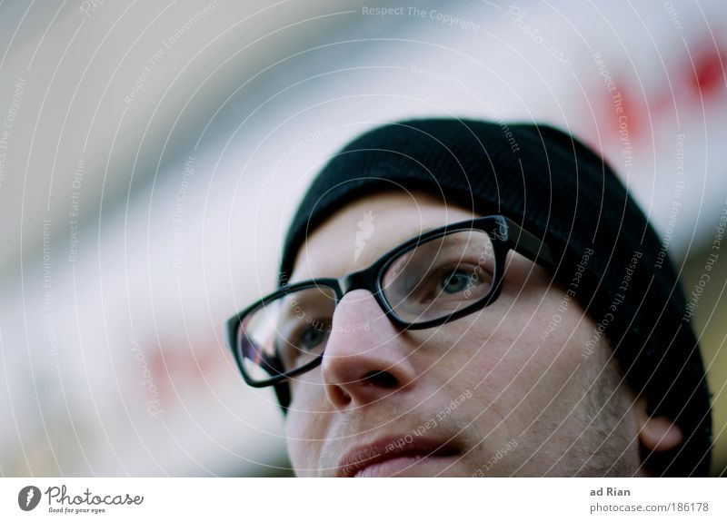 five Human being Masculine Young man Youth (Young adults) Man Adults Head Face Eyes Nose Mouth Eyeglasses Cap Think Looking Dream Cool (slang) Happiness Natural