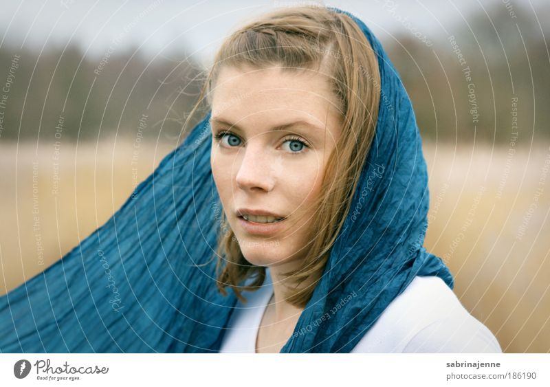 come away with me Human being Feminine Young woman Youth (Young adults) 1 18 - 30 years Adults Environment Nature Landscape Scarf Headscarf Blonde Curiosity