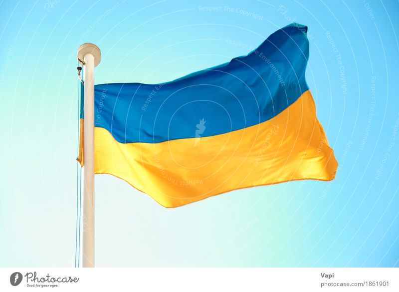 Ukrainian blue and yellow flag Freedom Culture Sky Cloudless sky Wind Landmark Flag Blue Yellow White Colour War Independence Ukraine euro 2012 country football