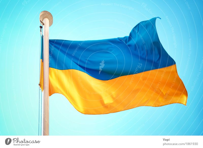 Ukrainian blue and yellow flag Culture Sky Cloudless sky Wind Flag Blue Yellow White Colour War Ukraine euro 2012 country football Championship background