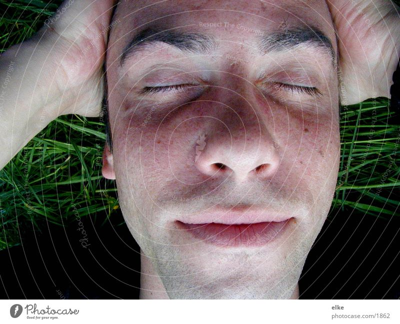 imgras2 Human being Grass Man Face
