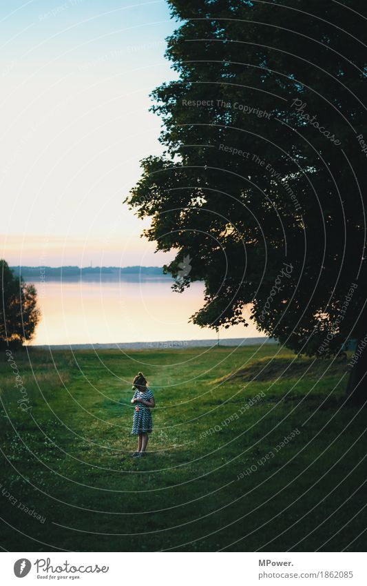 Human being Child Sky Nature Summer Water Tree Landscape Loneliness Girl Environment Spring Meadow Coast Lake Horizon