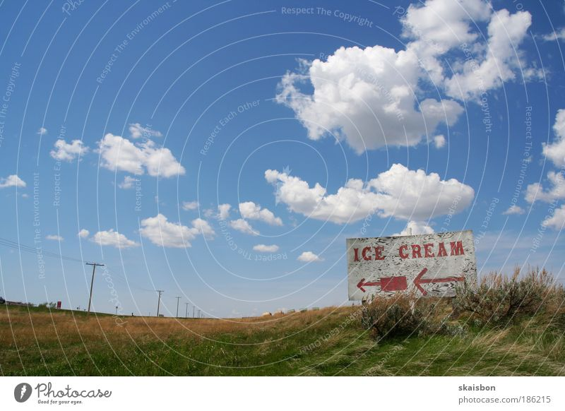 Nature Sky Blue Summer Vacation & Travel Clouds Nutrition Far-off places Meadow Landscape Air Wide angle Moody Field Signs and labeling Ice cream
