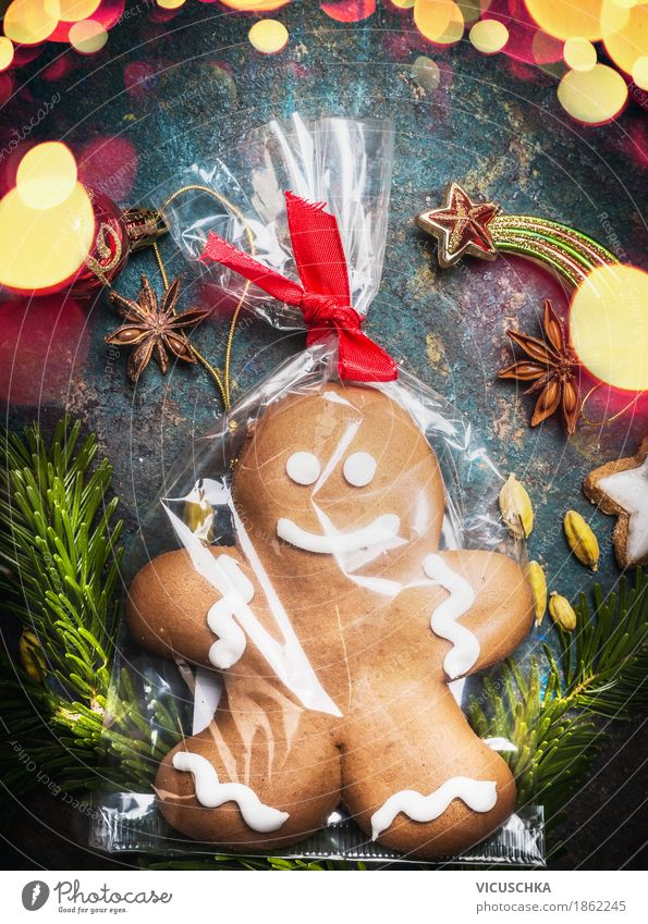 gingerbread men , cellophane wrapped Candy Style Design Joy Winter Living or residing Feasts & Celebrations Christmas & Advent Moody Tradition Cellophan
