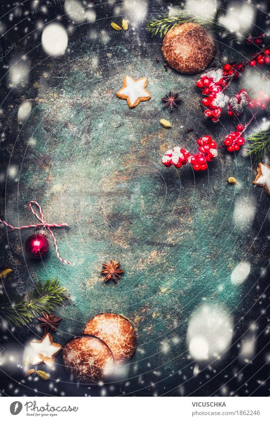 Christmas background with cookies, gingerbread and snow Dessert Candy Style Design Joy Winter Decoration Feasts & Celebrations Christmas & Advent Moody