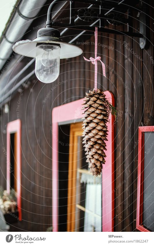 tapped Technology Old Lamp Cone Hut Chalet vacation Wooden house Christmas & Advent Christmas decoration Winter Brown Cozy Red Window Colour photo Exterior shot