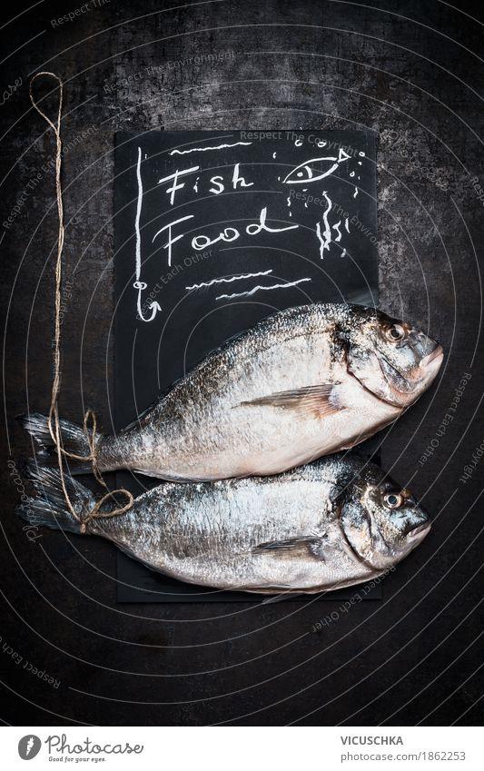 Raw whole Dorado Fish Food Nutrition Diet Style Design Healthy Eating Kitchen Restaurant Dorade Communication Protein Cooking Text Blackboard Chalk