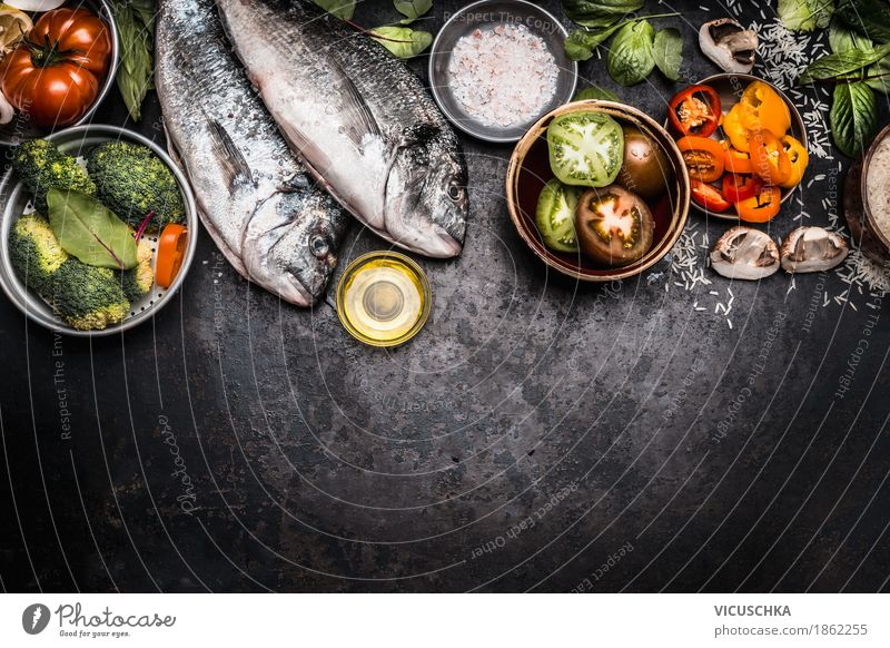 Healthy Eating Life Background picture Healthy Style Food Design Nutrition Table Fish Herbs and spices Kitchen Vegetable Organic produce Restaurant Crockery