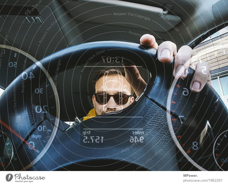 Human being Youth (Young adults) Young man 18 - 30 years Adults Transport Clock Car Technology Fingers Cool (slang) Mobility Sunglasses Motoring Digital Interlaced