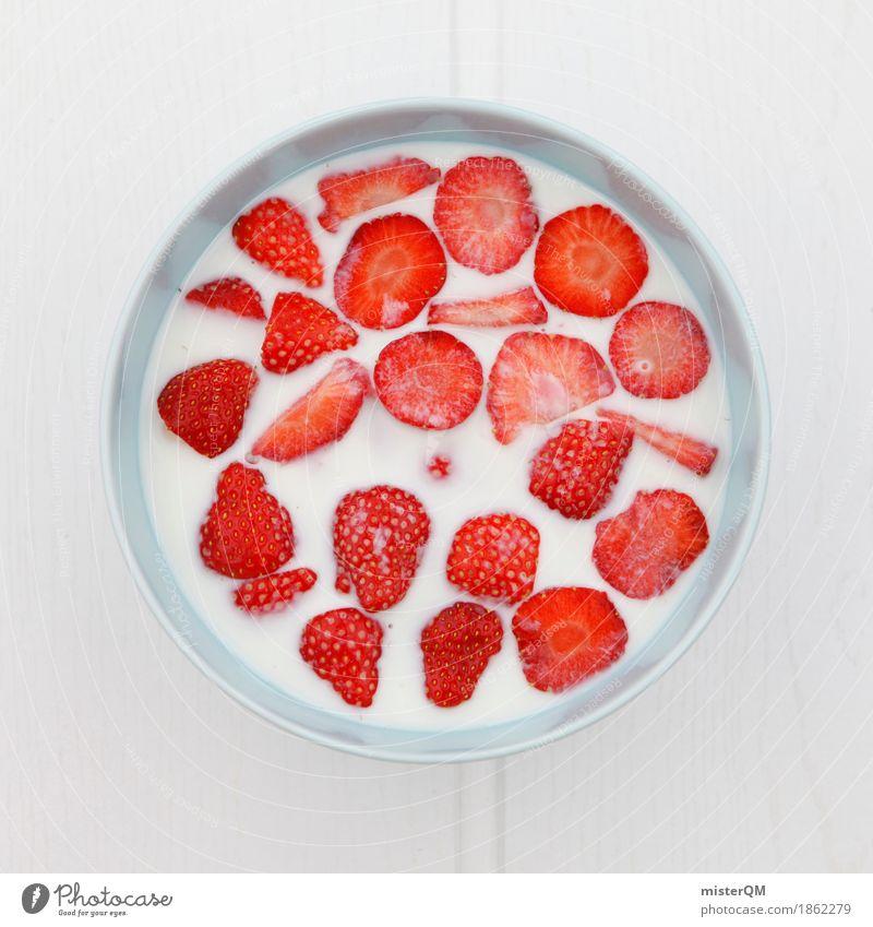 Healthy Eating Red Art Esthetic Delicious Many Breakfast Division Vegetarian diet Work of art Strawberry Breakfast table Morning break Strawberry shake
