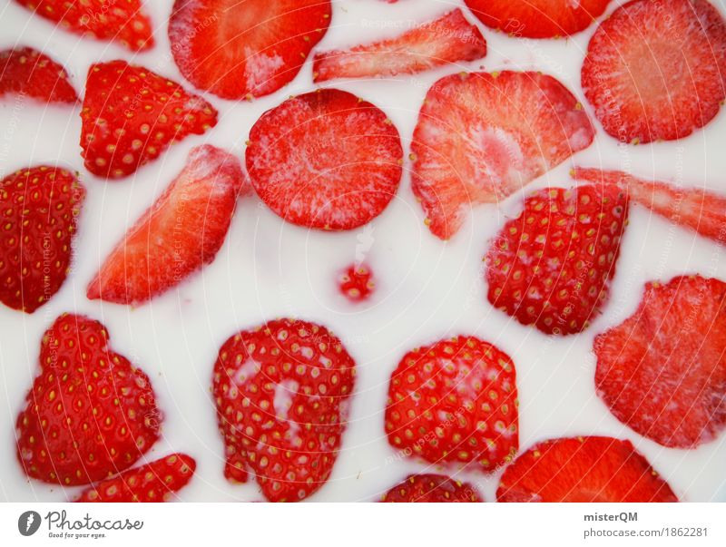 Strawberry bowl III Art Work of art Esthetic Strawberry yoghurt Milk Cereal Delicious Healthy Eating Red Organic produce Harvest Fresh Colour photo