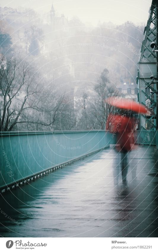 rainday Human being Woman Adults 1 Town Old town Populated Bridge Going Rain Umbrella Red Turquoise Wet Loneliness Sadness Gray Autumn Gloomy Weather Handrail