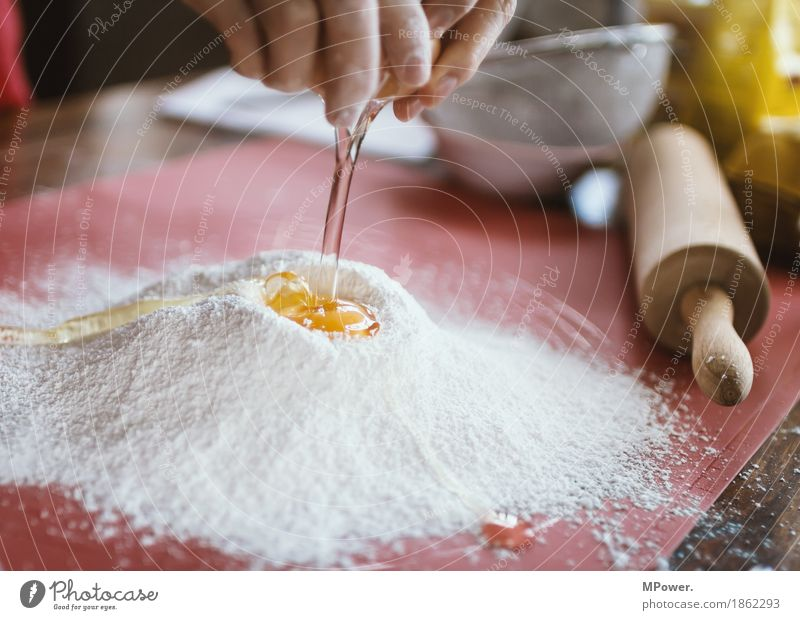 flour & egg Food Candy Nutrition Work and employment Baking Flour Egg Baker Handcrafts Rolling pin Yolk Colour photo Interior shot Close-up