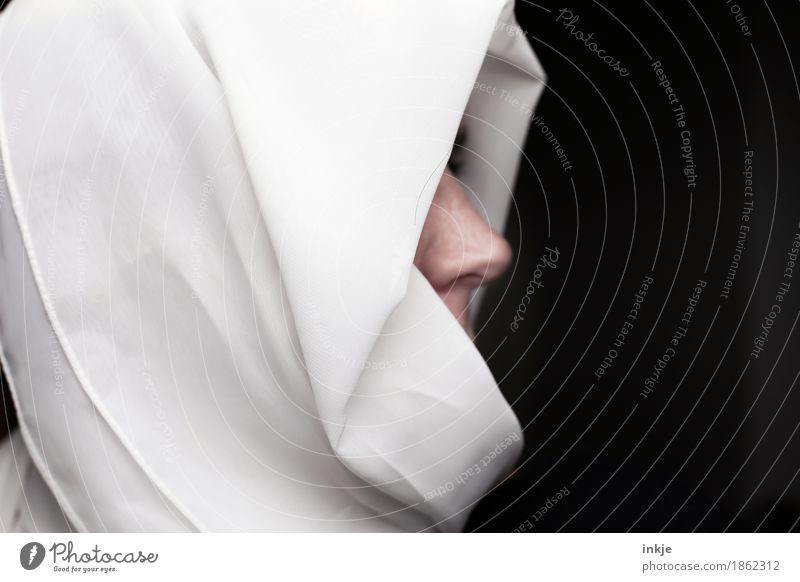 Human being Woman White Black Face Adults Life Religion and faith Lifestyle Style Nose Protection Belief Identity Scarf Packaged