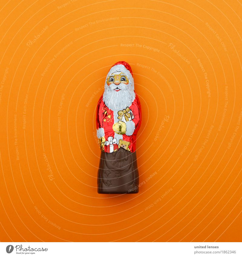 AK# Santa Claus goes Orange Art Work of art Esthetic Christmas & Advent Card Chocolate Santa Claus Red Consumption Shopaholic Gaudy Decoration Colour photo