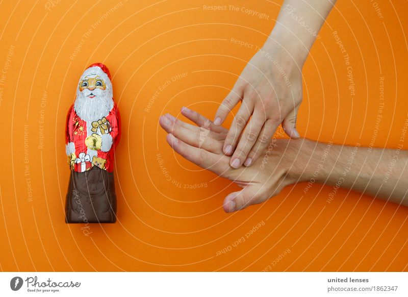 AKCGDR# You stop that! Art Esthetic Christmas & Advent Chocolate Santa Claus Orange Red Hand Bans Pain Ouch Diet Appetite Consumption Shopaholic Grasp