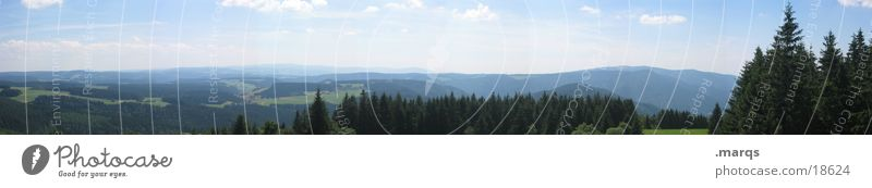 Black Forest Wide Angle Meadow Panorama (View) Valley Vantage point Summer Hill Horizon Mountain Germany Pasture Sky marqs Large Panorama (Format)