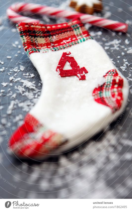 AKCGDR# Christmas 4 Art Esthetic Christmas & Advent Calendar Snow Candy cane Star cinnamon biscuit Red Stockings Decoration Colour photo Multicoloured