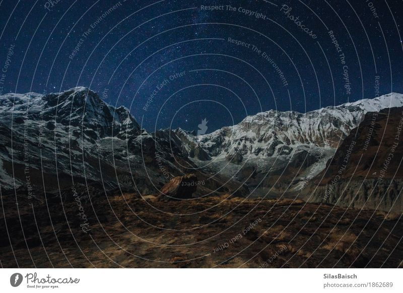 The Himalaya At Night Vacation & Travel Adventure Far-off places Expedition Mountain Hiking Nature Landscape Earth Cloudless sky Night sky Stars Rock Peak