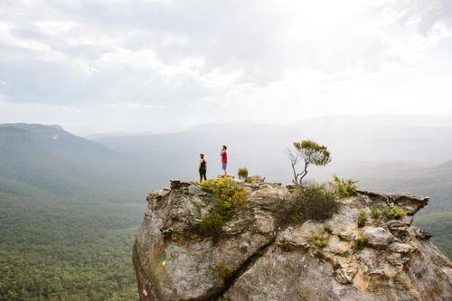 Hiking In The Blue Mountains Lifestyle Joy Vacation & Travel Trip Adventure Far-off places Freedom Expedition Climbing Mountaineering Jogging Human being