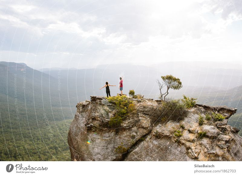 Happy Days Human being Nature Vacation & Travel Landscape Joy Far-off places Forest Mountain Life Lifestyle Freedom Couple Rock Tourism Friendship Hiking