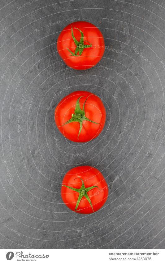 3 tomatoes Art Work of art Esthetic Tomato Tomato salad Tomato juice Tomato soup Slate Kitchen Food photograph Red Green Creativity Fashioned Colour photo
