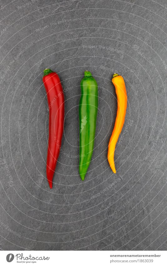 3 chilli Art Work of art Esthetic Chili Tangy Red Green Yellow Slate Vegetable Herbs and spices Food photograph Colour photo Multicoloured Interior shot