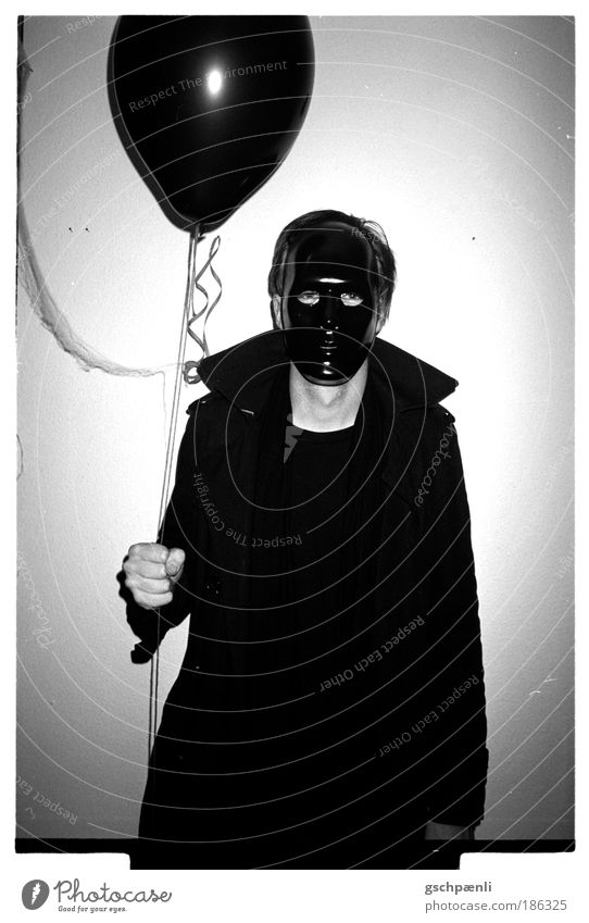 Human being Man White Black Dark Dream Fear Art Adults Night 1 Dangerous Balloon Threat Mask Carnival