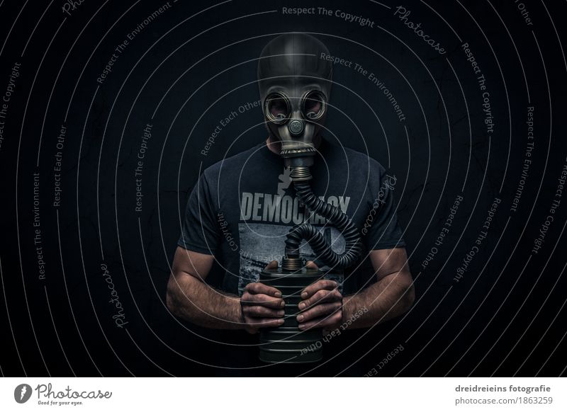 gasmask Human being Masculine Man Adults Observe Stand Aggression Dark Pain Longing Loneliness Guilty Shame Fear Dangerous Revenge Force Hatred Threat Cold War