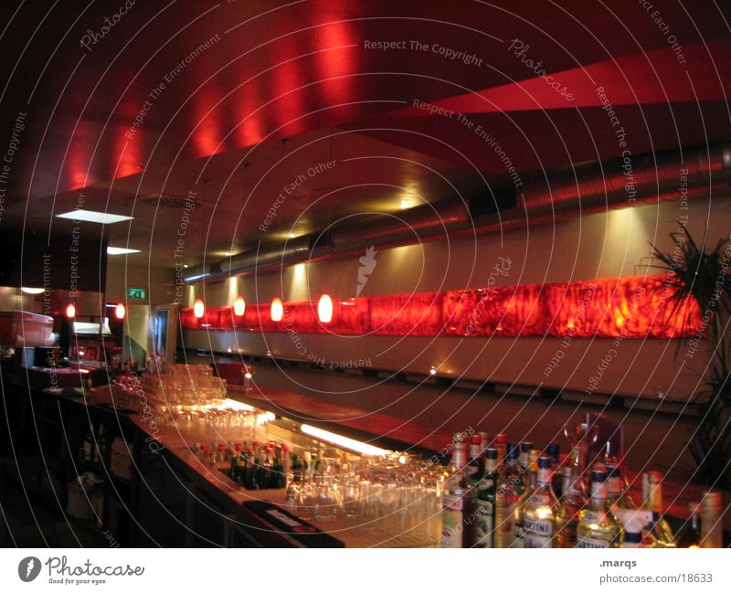 in cash Bar Counter Red Tidy up Alcoholic drinks Style Drinking vessel Glass Lighting Reflection Dark Interior shot Deserted Many