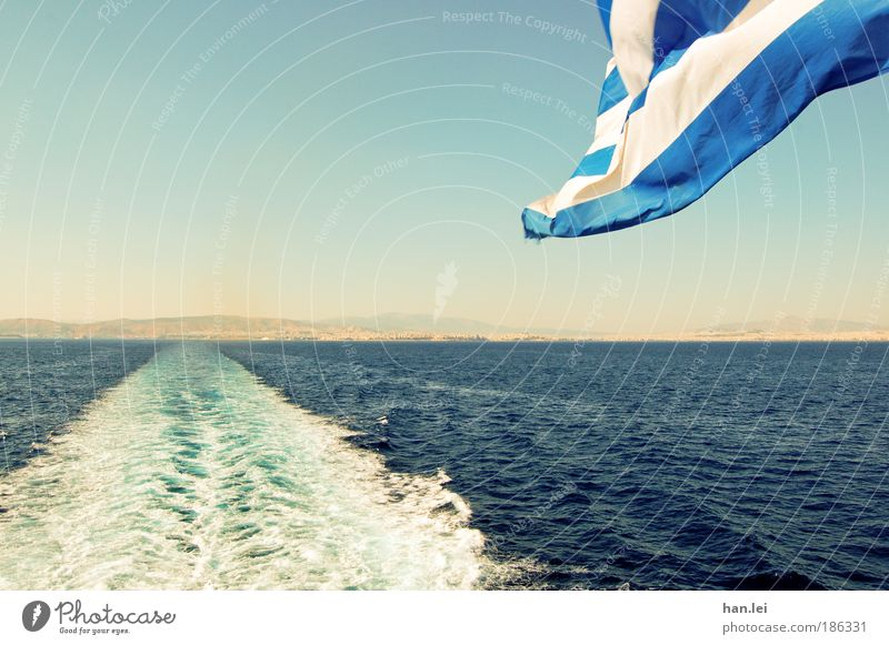 off to the south Vacation & Travel Far-off places Summer Summer vacation Ocean Waves Water Flag Blow Greece Blue Blue sky Watercraft Navigation Athens