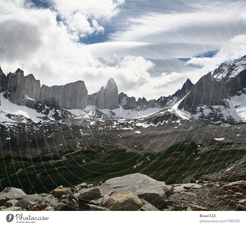 Patagonia03 Landscape Air Sky Clouds Summer Weather Rock Mountain Peak Snowcapped peak Sharp-edged Infinity Blue Gray Power Wanderlust Torres del Paine wide