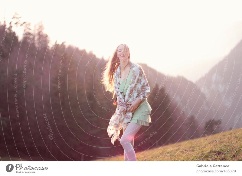 . Feminine Hair and hairstyles Landscape Clothing Dress Stockings Scarf Blonde Long-haired Laughter Dance Happy Infinity Violet Emotions Happiness Contentment