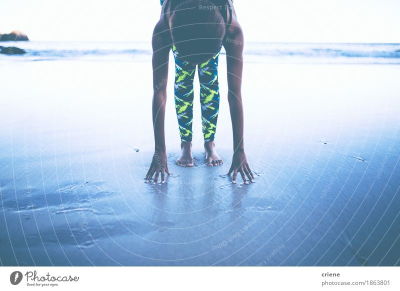 Young african women doing yoga exercise on beach Ocean Calm Adults Freedom Health care Sand Meditative Body Action Arm Fitness Wellness Barefoot Yoga Flexible