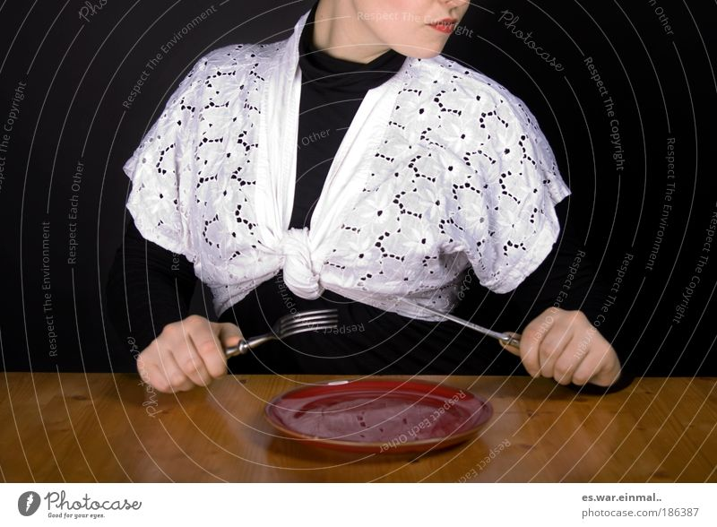 Grandma's tablecloth. Lunch Feminine Hand 1 Human being Actor Fashion Clothing Diet Eating Feeding Exceptional Knives Fork Plate Empty Foraging Lipstick Table