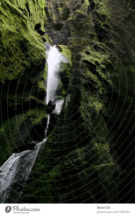 Nature Water Green Dark Stone Landscape Drops of water Environment Moss Brook Waterfall Canyon Perspective