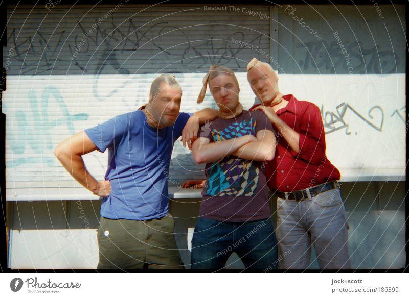 Human being Man Joy Adults Graffiti Funny Exceptional Group Friendship Stand Joie de vivre (Vitality) Cool (slang) Posture T-shirt Team Mask