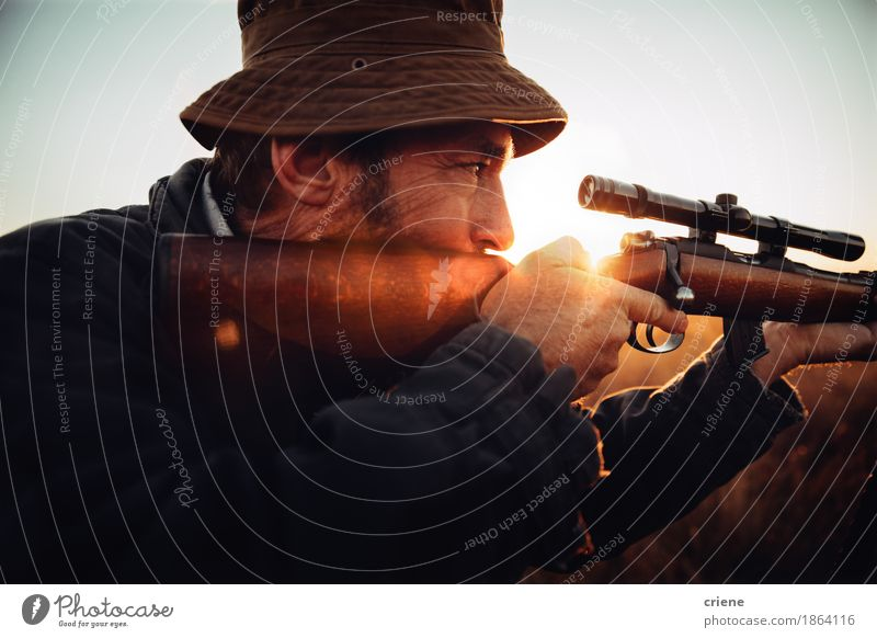 Detail of Hunter looking trough his sniper Human being Nature Man Landscape Animal Adults Environment Senior citizen Lifestyle Sports Wild Leisure and hobbies Field Adventure Protection Male senior