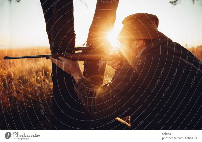 Hunter hiding behind tree on field shooting wild animal Nature Man Tree Animal Adults Senior citizen Lifestyle Sports Grass Leisure and hobbies Masculine