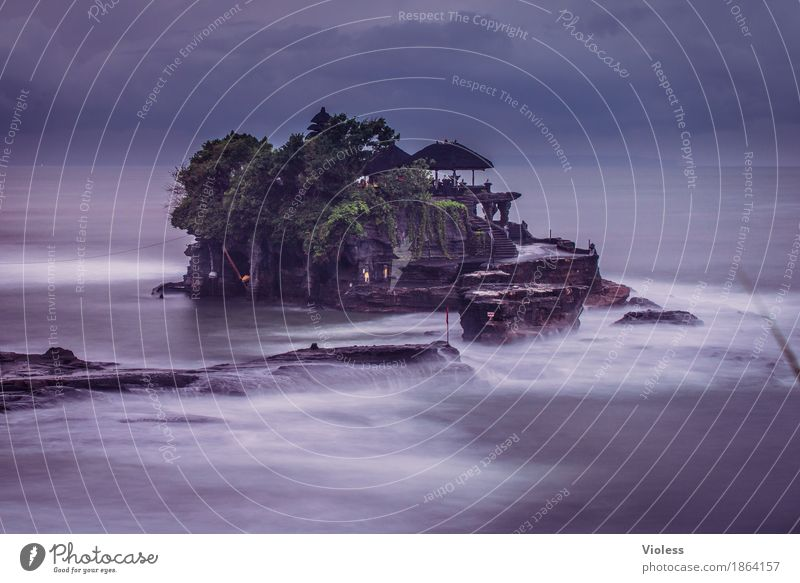 Tanah Lot III Temple Tourist Attraction Landmark Monument Exceptional Fantastic Religion and faith Bali Asia Pura Ulun Danu Twilight Long exposure Motion blur