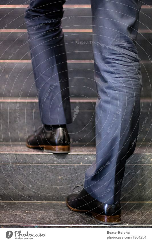 on the way up Style Workplace Business Company Career Success Masculine Life Legs Feet Running Going Strong Blue Brown Emotions Determination Dependability