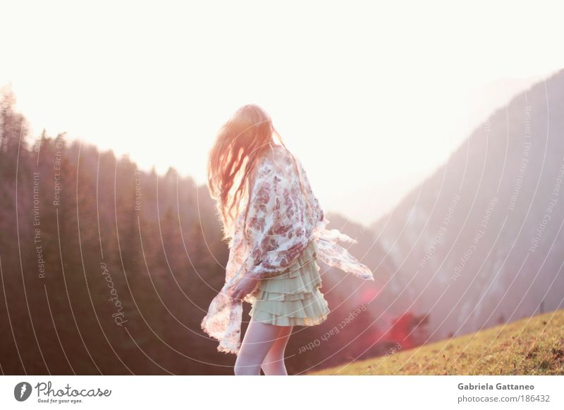 Feminine Landscape Mountain Hair and hairstyles Moody Free Stand Illuminate Hill Rotate Human being Speed Solidify Rotational speed