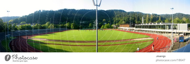 Sports Playing Field Walking Soccer Large Academic studies Railroad Lawn Throw Panorama (Format) Sporting event Floodlight Sportsperson Endurance Practice