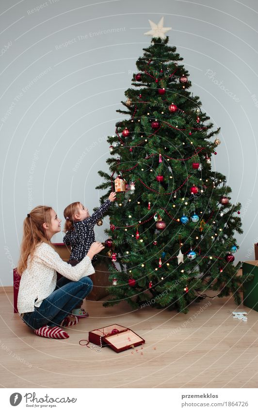 Young girl and her little sister decorating Christmas tree Human being Child Christmas & Advent Tree Joy Girl Lifestyle Family & Relations Small