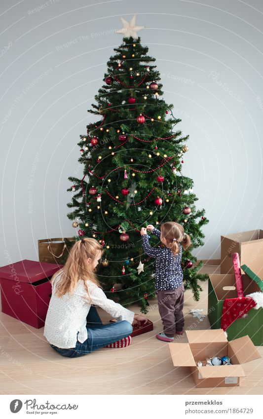 Young girl and her little sister decorating Christmas tree Human being Child Joy Girl Lifestyle Family & Relations Small Feasts & Celebrations Together Decoration Infancy 8 - 13 years Tradition Home Toddler Pine