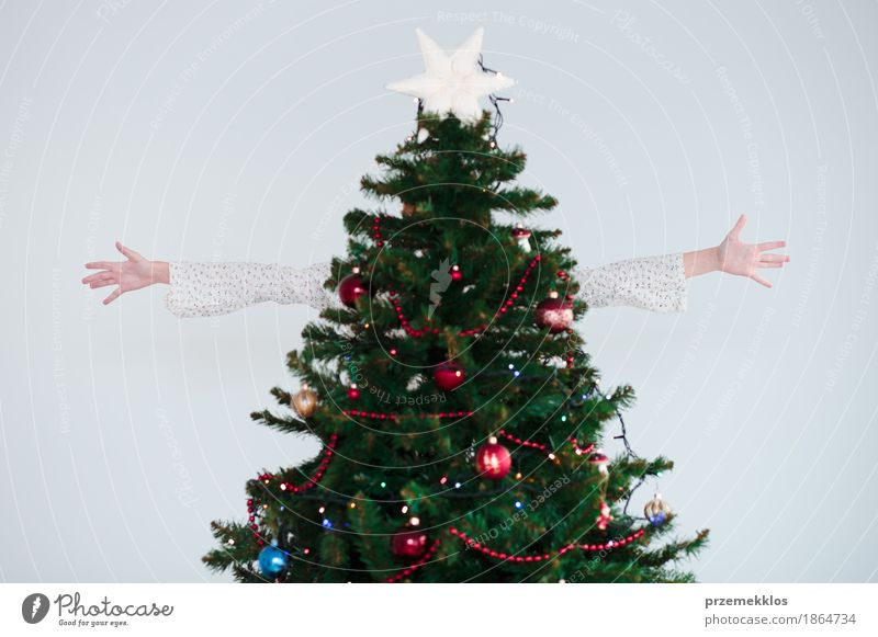 Girl enjoying Christmas holiday hidden behind Christmas tree Human being Child Christmas & Advent Green Tree Hand Joy Lifestyle Happy Bright Decoration Infancy
